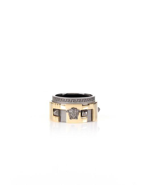 Versace   Metallic Studs Circle Ring Gold/black   Lyst