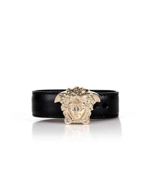 Versace - Medusa Head Leather Bracelet Black/light Gold - Lyst