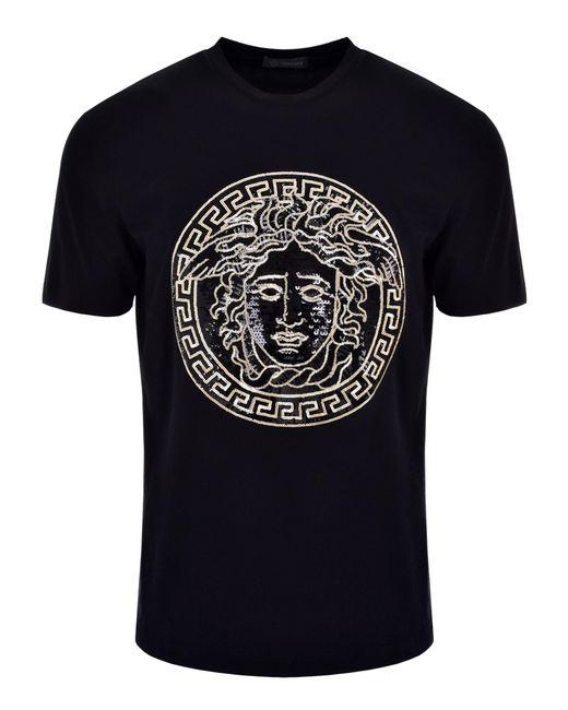 d986ef2c7 Versace - Sequin Medusa Head T-shirt Black/gold for Men - Lyst ...