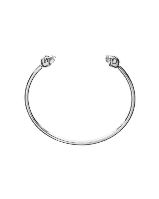 Alexander McQueen - Metallic Thin Twin Skull Bracelet New Palladium - Lyst