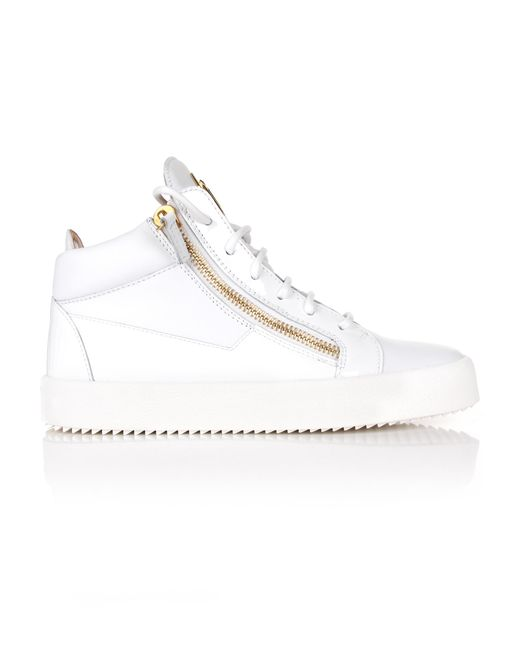 Giuseppe Zanotti - Kriss Mix Leather Logo Mid-top Sneakers White - Lyst