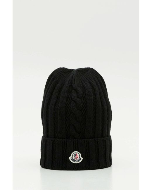 60f44460539 Lyst - Moncler Black Knitted Wool Beanie in Black - Save ...
