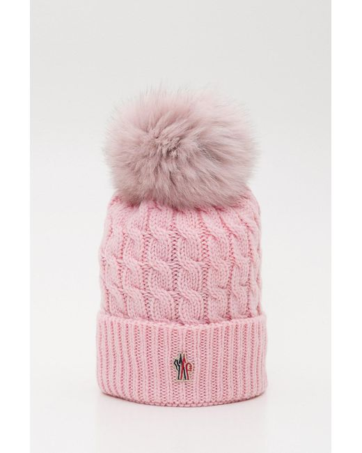 4d03a27750b930 ... Moncler Grenoble - Pink Wool Knit Beanie With Fur Pompom - Lyst ...