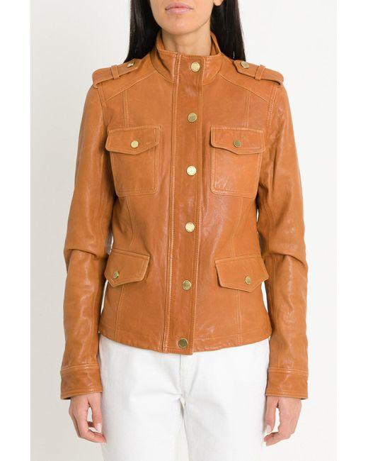 MICHAEL Michael Kors - Multicolor Four Flap Pockets Vintage-effect Leather Jacket - Lyst