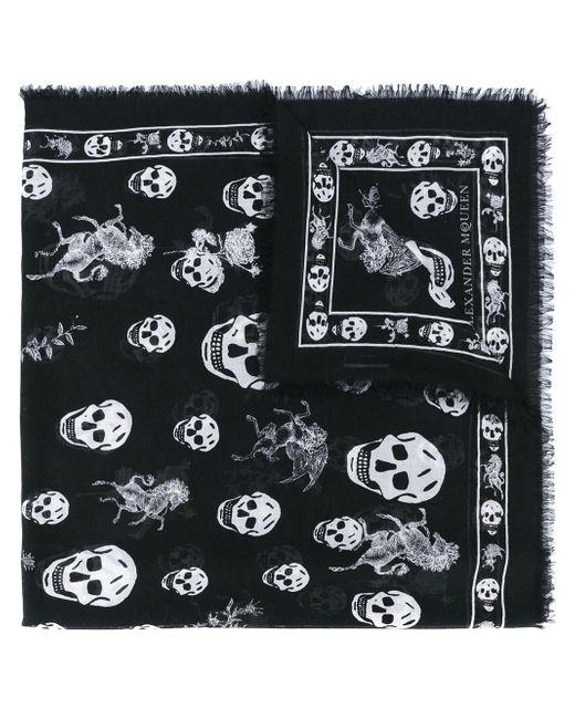 Alexander McQueen - Black Skull Printed Modal And Silk Scarf for Men - Lyst