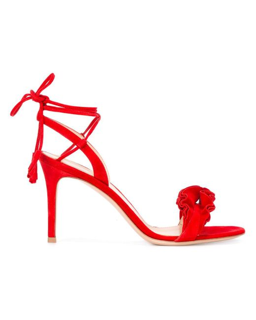 Gianvito Rossi - Red Flora Frill Sandals - Lyst