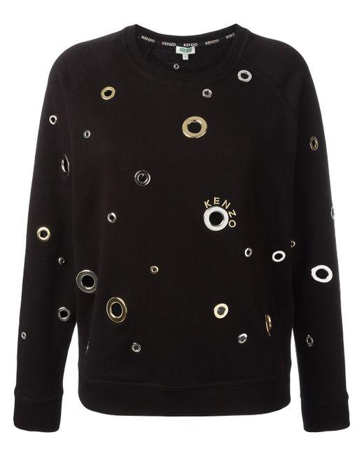 KENZO | Black Eyelet Embellished Sweatshirt | Lyst