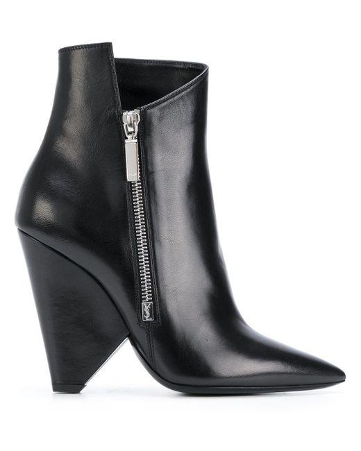 Saint Laurent - Black Geometric Heeled Boots - Lyst
