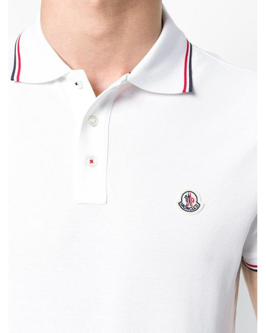 253abf4d ... Moncler - White Striped Trim Polo Shirt for Men - Lyst