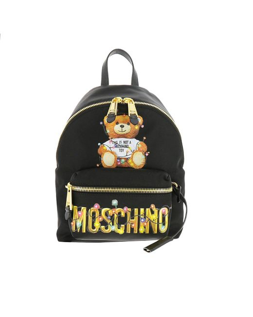 Moschino Couture - Black Moschino Capsule Collection Small Nylon Backpack With Teddy Christmas Moschino Print - Lyst