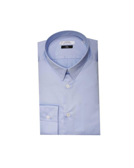 Versace | Blue Shirt Stretch Cotton Satin for Men | Lyst