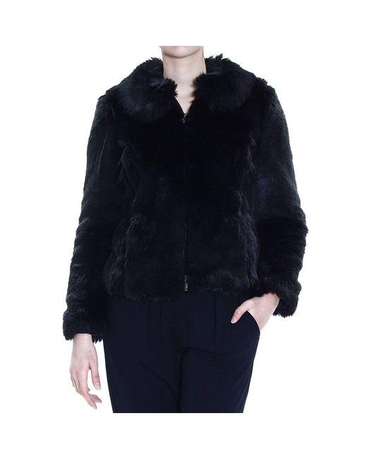 Emporio Armani | Black Blazer Eco Fur With Zip | Lyst