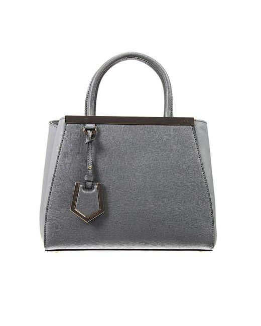 Fendi | Gray Handbag 2 Jours Small Leather | Lyst