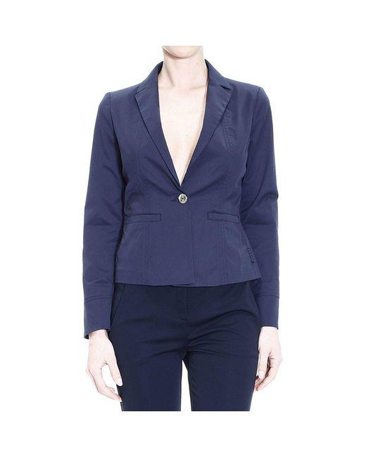 Armani Jeans | Blue Blazer Jacket 1 Button Cotton | Lyst