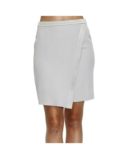 Emporio Armani | Gray Skirt Cady With Details Satin | Lyst