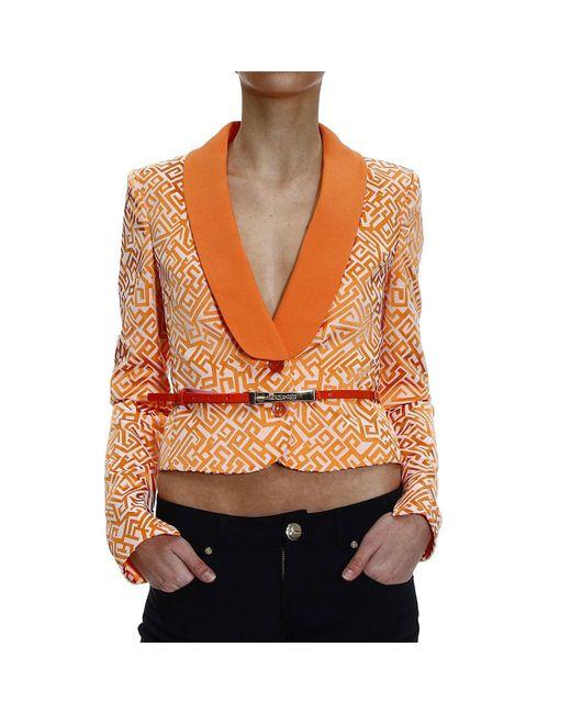 Patrizia Pepe | Orange Blazer Jacket 1 Button Jaquard Lapels Satin | Lyst
