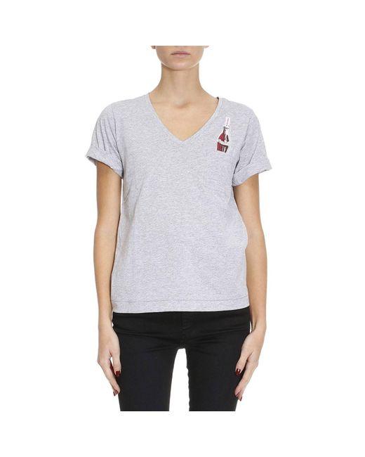 Pinko | Gray T-shirt Women | Lyst