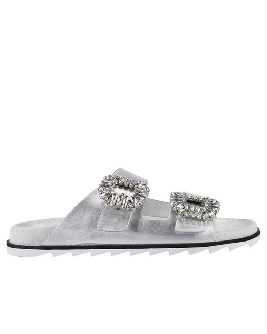 Roger Vivier | Slidy Viv Crystal Buckle Metallic Leather Slides | Lyst