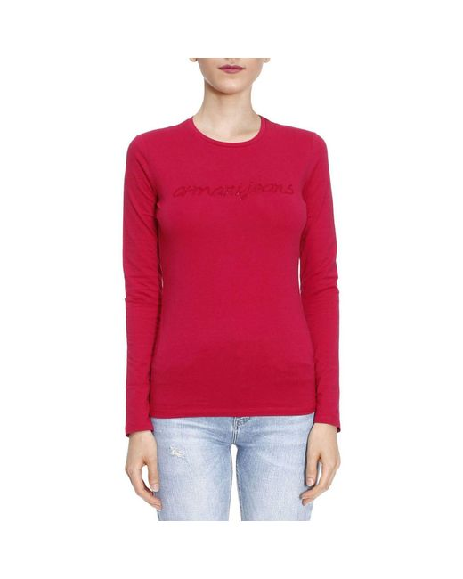 Armani Jeans | Red T-shirt Women | Lyst