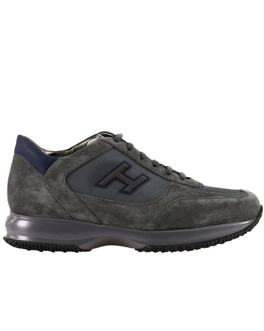 Hogan - Gray New Interactive H Vintage Round Toe Suede Sneakers for Men - Lyst