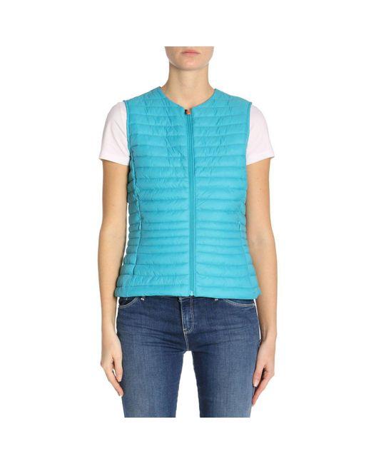 Save The Duck - Blue Waistcoat Women - Lyst