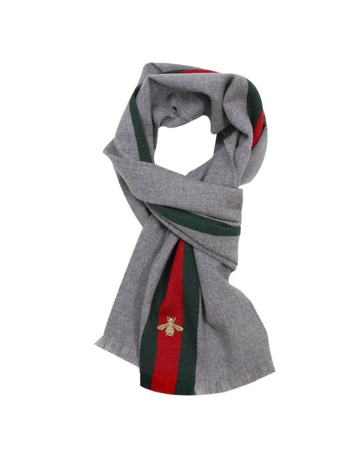 Gucci - Gray Scarf 37 X 180 Cm In Cashmere Wool With Web And Bee Pattern for Men - Lyst