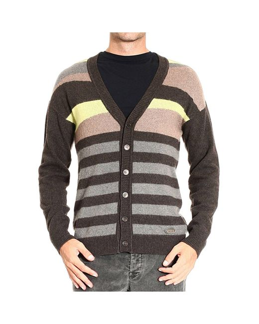 Just Cavalli - Brown Cashmere and Mohair-Blend Sweater for Men - Lyst