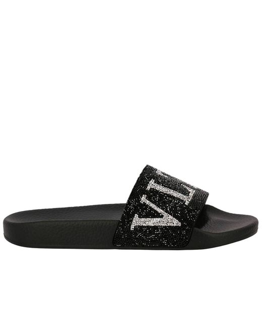 Valentino - Black Valentino Slide Sandals Rubber With Crystal Rock Band Logo - Lyst