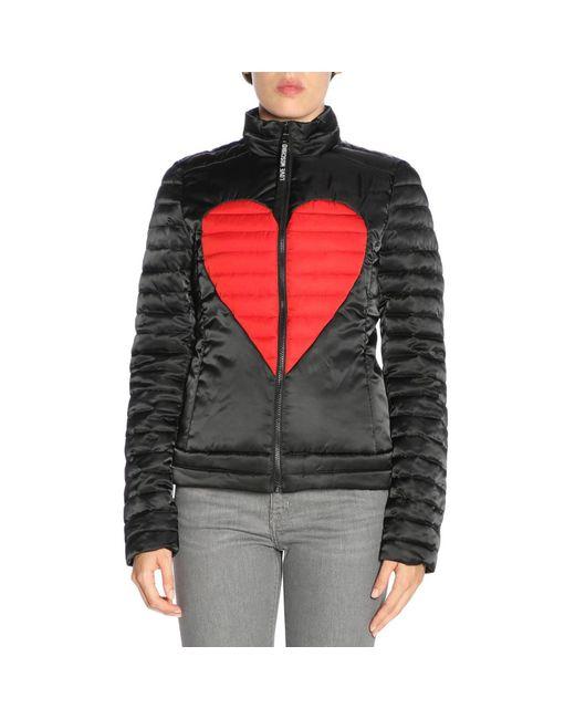 Love Moschino - Black Heart Print Padded Jacket - Lyst