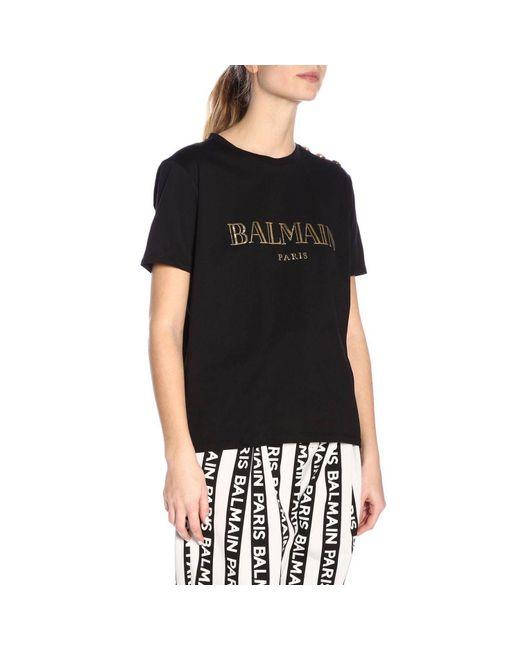 7a4259b3 Lyst - Balmain Logo Print Cotton Jersey T-shirt in Black - Save 37%