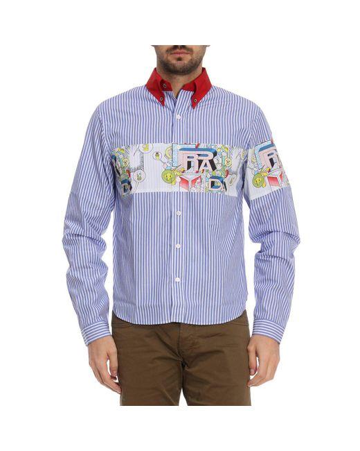 Prada - Blue Chemise rayée à manche longue en pur coton avec impression for  Men ... 585173344cc