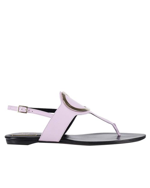 Roger Vivier | Purple Flat Sandals Round Belle Sandals With Round Metallic Buckle | Lyst