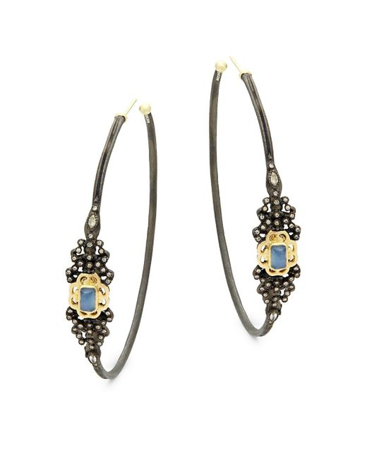 Armenta - Metallic Champagne Diamond & Gemstone Hoop Earrings - Lyst