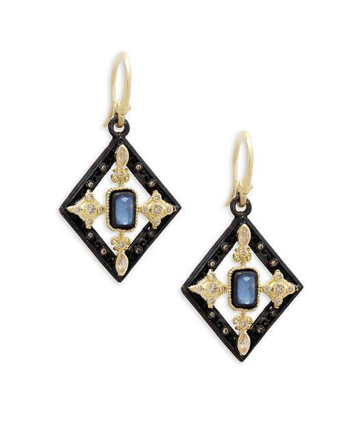 Armenta - Metallic Old World Yellow Gold & Blackened Silver Gemstone Geometric Drop Earrings - Lyst