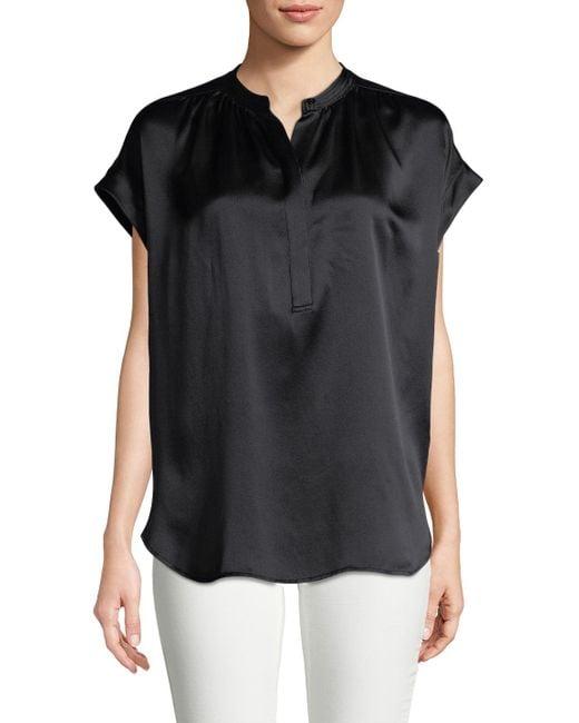 Vince | Black Shirred Neck Pullover | Lyst