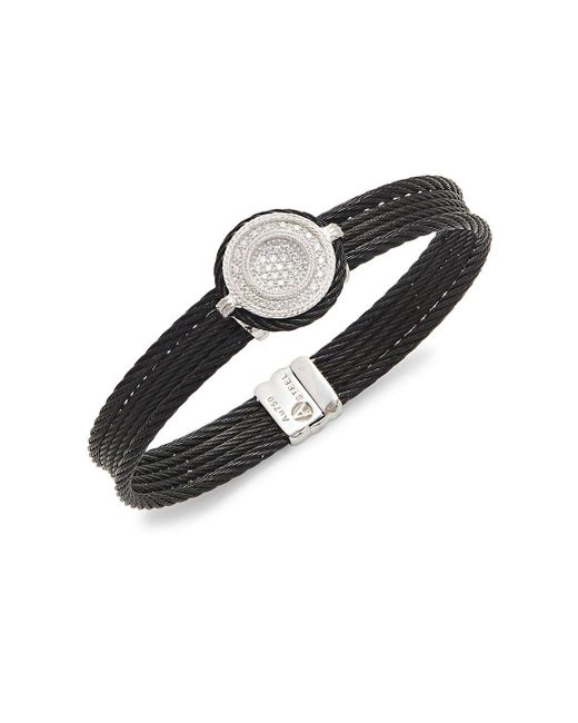 Alor | Black 18k White Gold & Diamond Cable Bracelet | Lyst