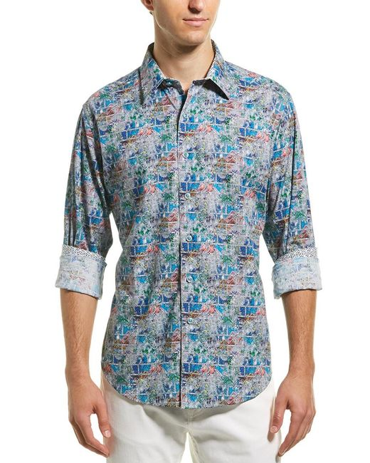 Robert Graham Blue Clanton Classic Fit Woven Shirt for men