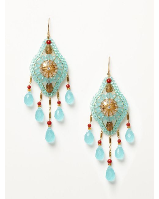 Miguel Ases - Multicolor - Calcite And Coral Drop Earrings - Lyst