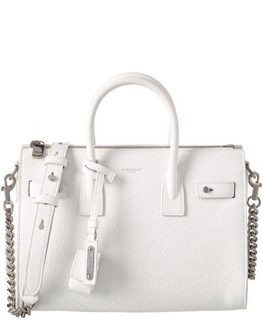 Saint Laurent - White Sac De Jour Baby Supple Leather Tote - Lyst