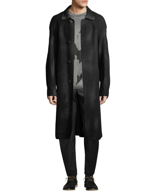 Lanvin - Gray Unlined Wool Plaid Coat for Men - Lyst