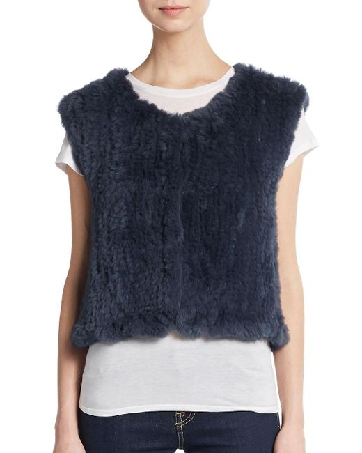 Saks Fifth Avenue - Blue Cropped Rabbit Fur Vest - Lyst