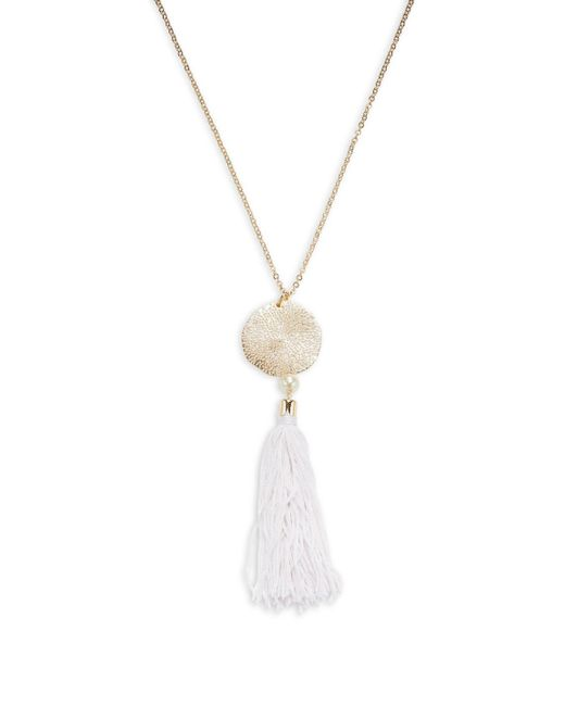 Ettika Jewelry | White Organic Punched Out Disc & Tassel Statement Necklace | Lyst