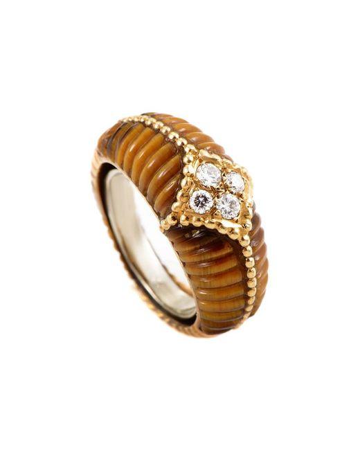 Heritage Van Cleef & Arpels - Metallic Van Cleef & Arpels 18k 0.17 Ct. Tw. Diamond & Tiger's Eye Ring - Lyst