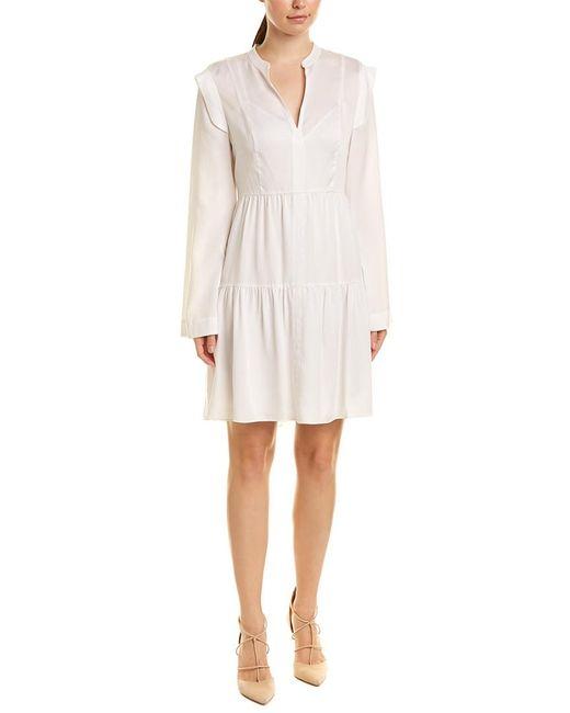 BCBGMAXAZRIA White Ruffle Shift Dress