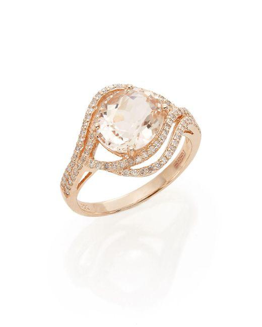 Effy - Pink Oval Morganite, Diamond & 14k Rose Gold Ring - Lyst