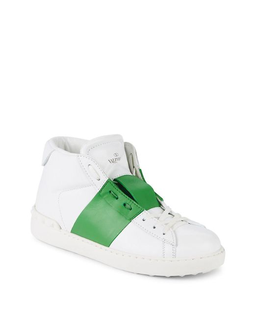 Valentino - Green Open Leather Low-Top Sneakers - Lyst