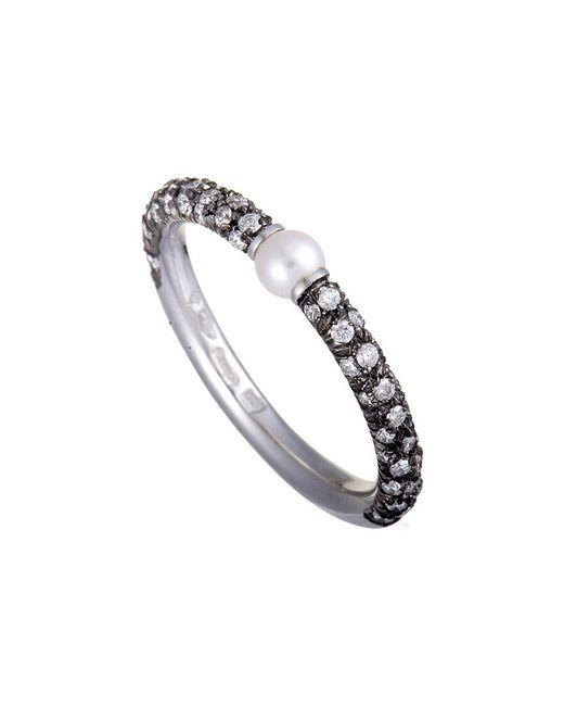 Mikimoto - Metallic 18k & Rhodium 0.35 Ct. Tw. Diamond & Pearl Ring - Lyst