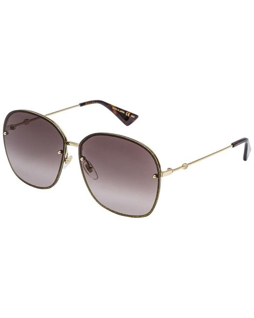 Gucci - Metallic 63mm OverGold/ Brown - Lyst
