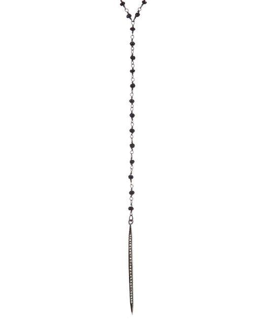 Adornia - Metallic Fine Jewelry Silver Black Spinel Lariat Necklace - Lyst