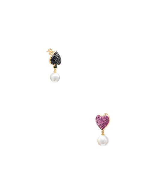 Gabi Rielle - Metallic 22k Gold Vermeil Mother Of Pearl, Ruby Ace Of Hearts Earrings - Lyst